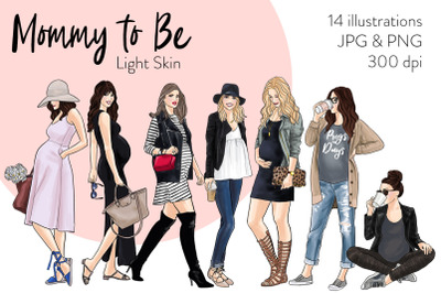 Watercolor Fashion Clipart - Mommy to Be - Light Skin