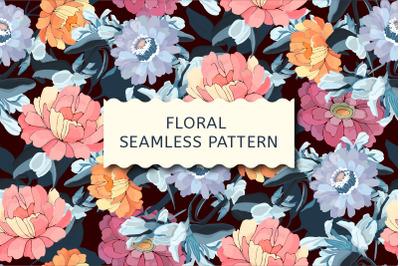 Vector seamless pattern. Garden flowers.