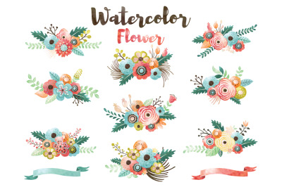 Watercolor Flower Bouquet Collection