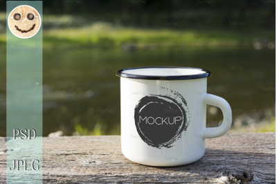 White campfire enamel mug mockup with sun beams.
