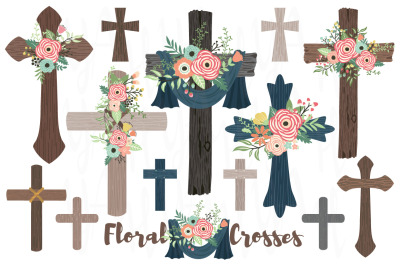 Wood Flowers Crosses Collections Set