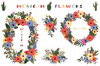 Mexican Flowers Wreath Bouquet Set
