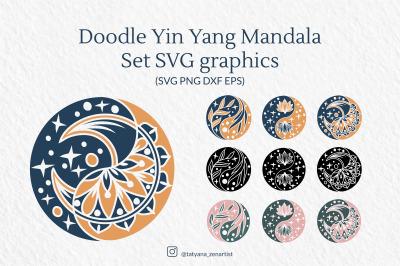 Doodle Yin Yang Mandala Set SVG graphics