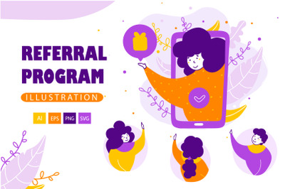 Referral program - Cartoon Illustrations