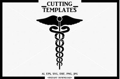 Medical Symbol, Caduceus, Doctor, Silhouette, Cricut, SVG