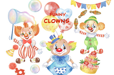 Funny clowns watercolor clipart. Clown, holiday for children, balloons