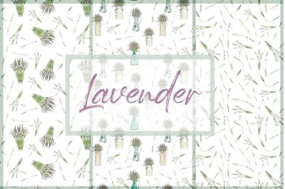 Watercolor Vintage Lavender Pattern