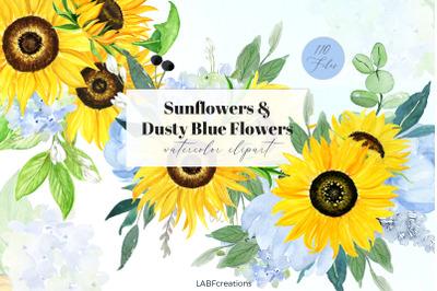 Sunflowers & Dusty Blue Flowers. Watercolor Clipart. Boho