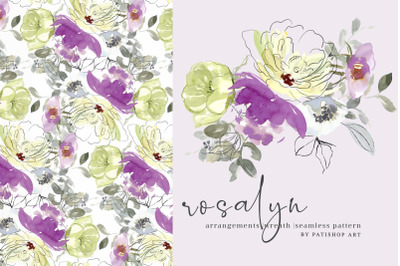 Watercolor Lemon and Purple Floral Clipart Set