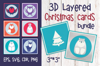 3D Layered Christmas cards with cute animals. Bundle