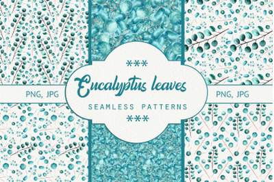Seamless patterns eucalyptus leaves. Watercolor
