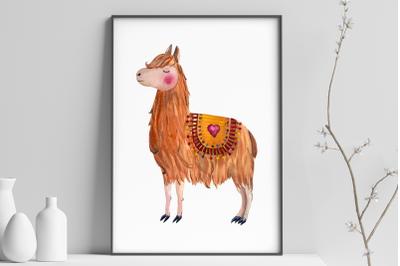 Lama in Love - Watercolor Print and Clip Art