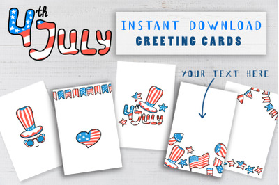 USA Independence Day Postcard Pack. American Flag Greeting Card