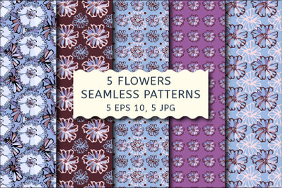 Flowers seamless patterns with cornflowers.