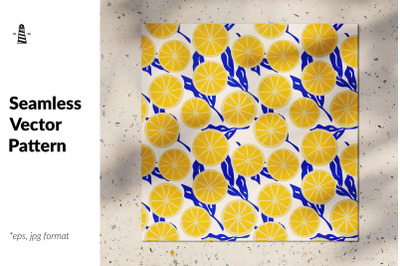Lemon slices seamless pattern