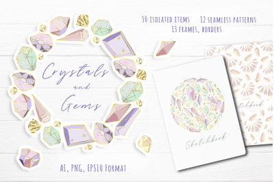 Crystals and Gems - vector set