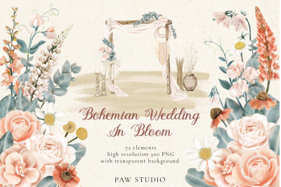 Bohemian Wedding Decor Flowers Leaves Clipart