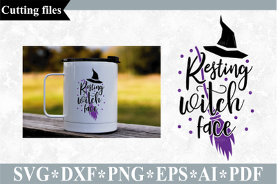 Resting witch face SVG, Halloween cut file
