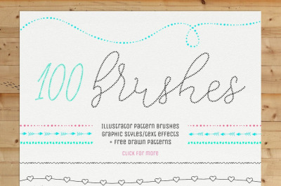 110 Hand Drawn Inky Pattern Brushes, 9 Graphic Styles / Text Effecs.
