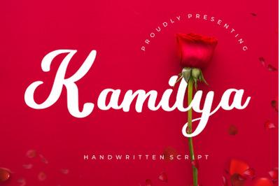 Kamilya Handwritten Script