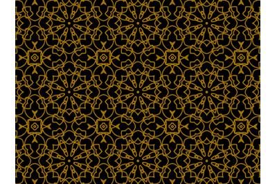 Pattern Gold Batik Motive Flowers