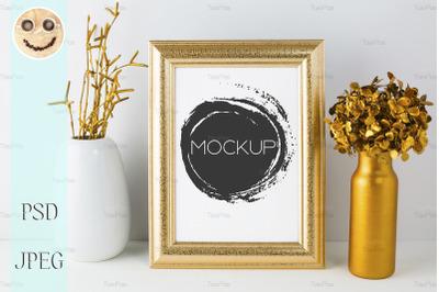 Frame mockup with golden decor