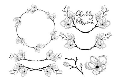 Hand Drawn Cherry Blossom Arrangements. Dividers, Text Frames, Wreaths