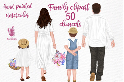 Family clipart Parents with kids Watercolor people Mug