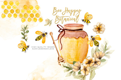Honey clipart, watercolor bee clipart, watercolor clipart,