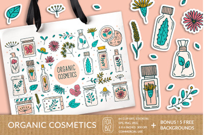 Organic cosmetics. Vector prints, stickers, backgrounds.