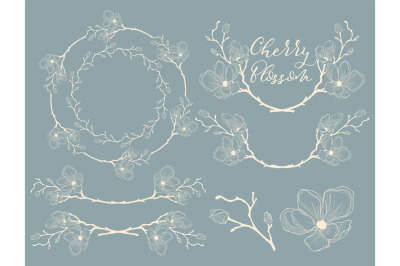 White Hand Drawn Cherry Blossom Arrangements. Dividers, Wreaths.