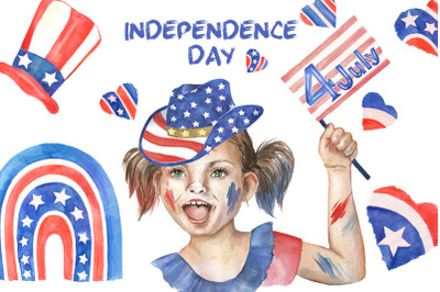 Independence Day. 4th of July watercolor clipart USA National Day