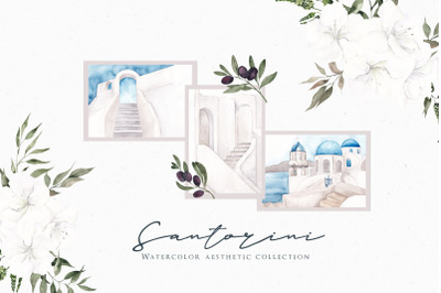 Santorini. Aesthetic Watercolor collection