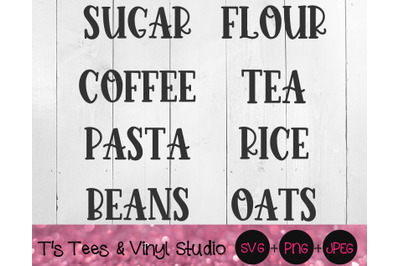 Pantry Labels Svg, Kitchen Labels Svg, Pantry Svg, Kitchen Svg, Labels