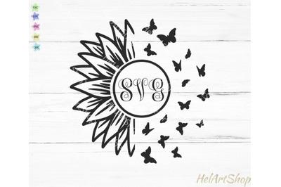 Sunflower monogram svg, Sunflower Butterfly svg, flower monogram svg,