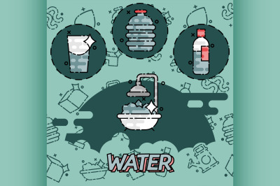 Water flat concept icons