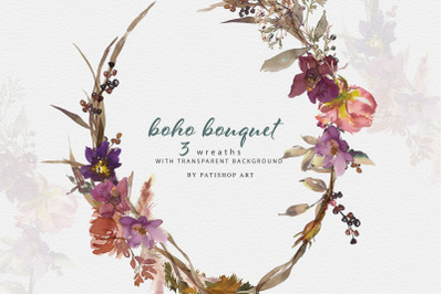 Watercolor Boho Floral Frames Patterns and Wreaths