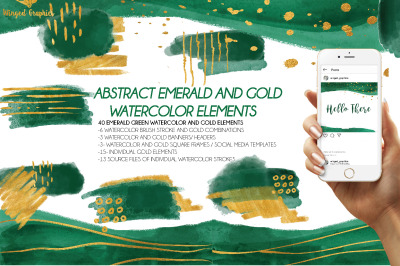 40 Abstract modern emerald green and gold watercolor elements / brush