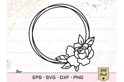 Peony Flower circle frame cut file SVG