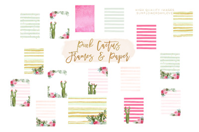Mexican Cactus Clipart, Mexican Pink Floral paper, Cactus Succulent