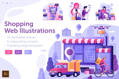 Online Shopping Web Illustrations
