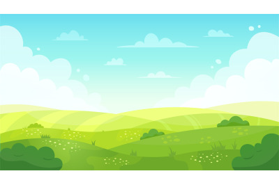 Cartoon meadow landscape. Summer green fields view, spring lawn hill a