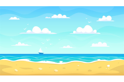Cartoon beach landscape. Summer ocean sandy seashore, vacation tropica