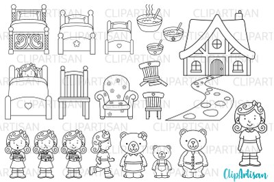 Goldilocks and the Three Bears Digital Stamps