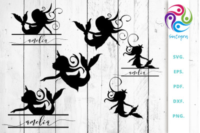 Mermaids Silhouettes and Split Cut Files Bundle