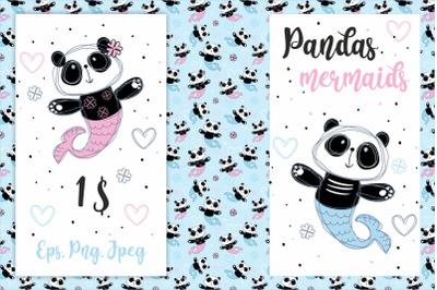 Pandas mermaids