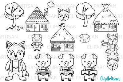 Three Little Pigs Fairy Tale Digital Stamps