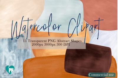 13 Watercolor Shapes Clipart vol 2