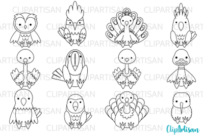 Birds Clip Art, Tropical Birds Digital Stamps