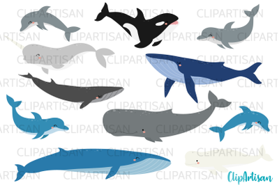 Whales and Dolphins Clip Art